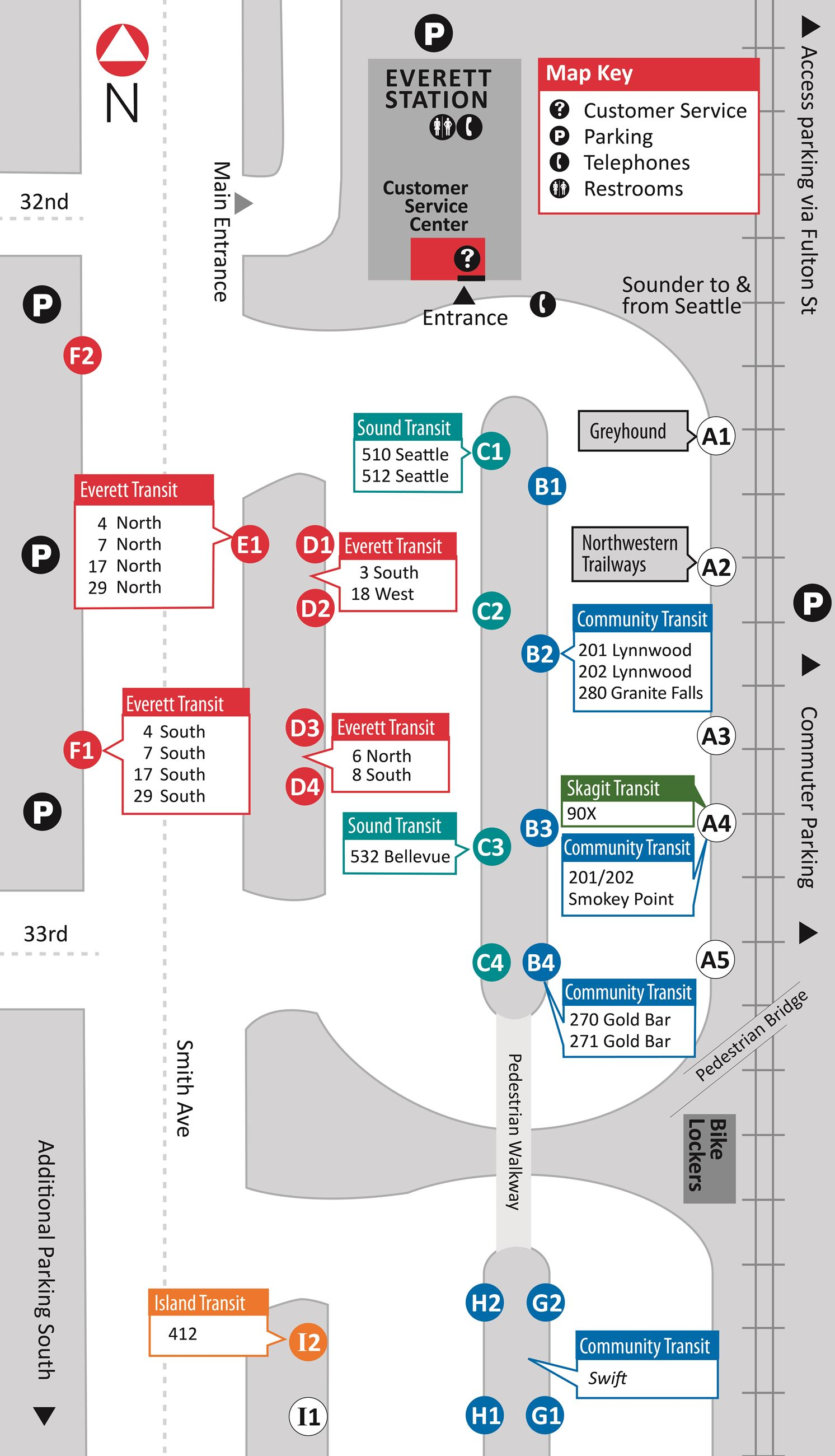 Everett Station bus bay map